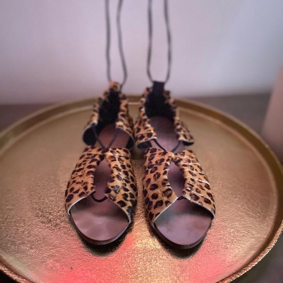 Zara Leopard Print Wrap around Sandal
